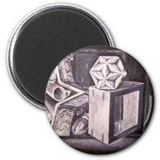 Geometric Still Life Black and White Magnet