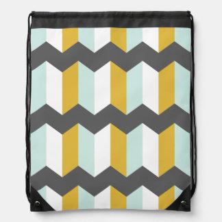 Geometric Stripes Chevron Mint And Yellow Pattern Drawstring Bag