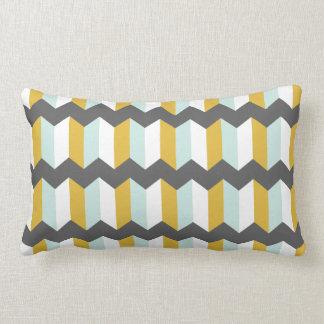 Geometric Stripes Chevron Mint  And Yellow Pattern Lumbar Cushion