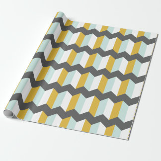 Geometric Stripes Chevron Mint And Yellow Pattern Wrapping Paper