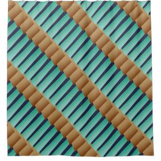 Geometric Stripes/Turquoise Tan & Blue Shower Curtain