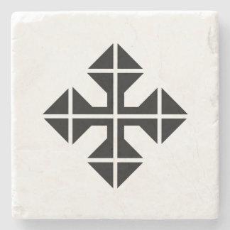 Geometric style black Cross Stone Coaster