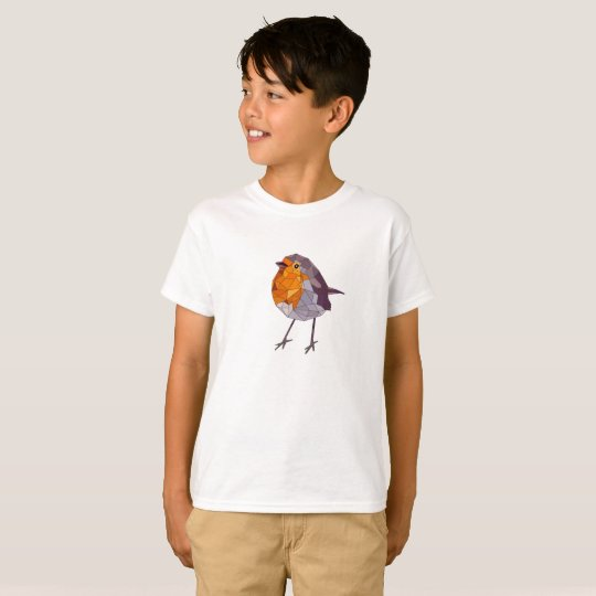Geometric Style Red Robin T-Shirt