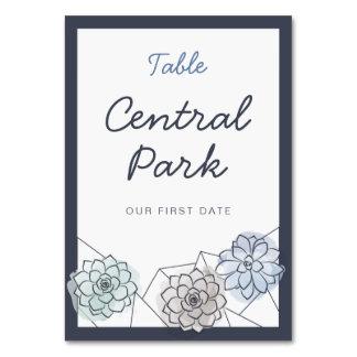 Geometric Succulent Custom Wedding Table Card