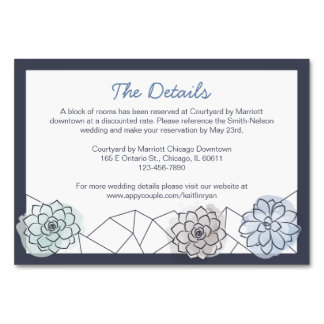 Geometric Succulent Wedding Enclosure Card