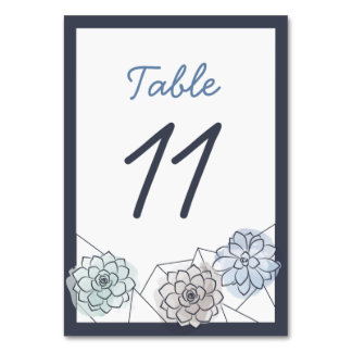 Geometric Succulent Wedding Table Card - 11