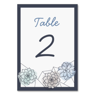 Geometric Succulent Wedding Table Card - 2