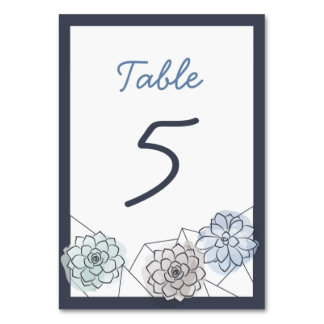 Geometric Succulent Wedding Table Card - 5