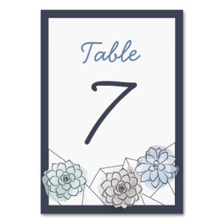 Geometric Succulent Wedding Table Card - 7