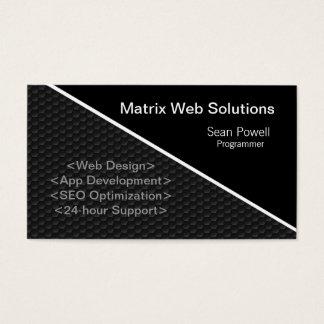 Geometric Tech Business Card, Metallic Gray Business Card