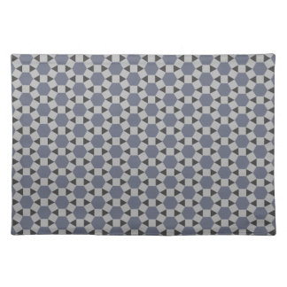 Geometric Tessellation Pattern in Grey and Blue Placemat