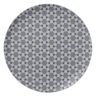 Geometric Tessellation Pattern in Grey and Blue Plate