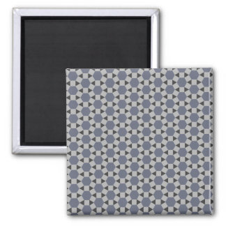 Geometric Tessellation Pattern in Grey and Blue Square Magnet