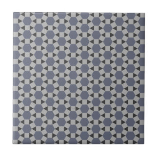 Geometric Tessellation Pattern in Grey and Blue Tile