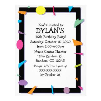 Geometric theme birthday party flyer invitations