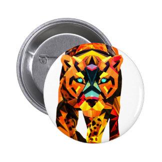 Geometric Tiger Prowl 6 Cm Round Badge