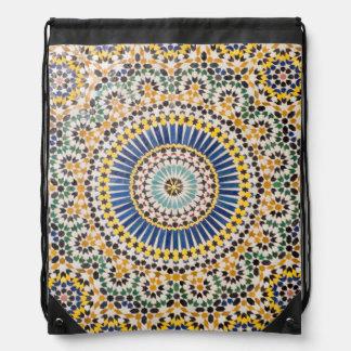 Geometric tile pattern, Morocco Drawstring Bag