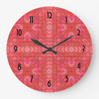 Geometric Triangles and Diamonds In Red And Pink Wall Clocks