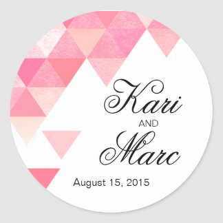 Geometric Triangles Favor Decal | peony pink mauve Classic Round Sticker