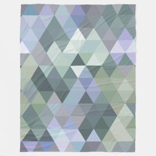 Geometric Triangles Foggy Morning Blues Fleece Blanket