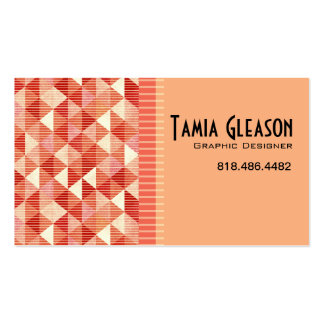 Geometric Triangles Graphic Designer Artist peach Business Card