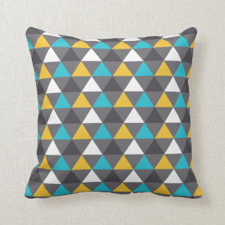 Geometric Triangles Gray Blue Yellow Pattern Cushion