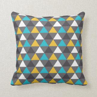 Geometric Triangles Gray Blue Yellow Pattern Throw Pillow