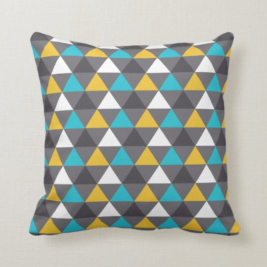 Geometric Triangles Grey Blue Yellow Pattern Cushion