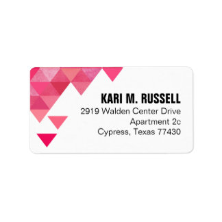 Geometric Triangles Mailing | fuschia hot pink Address Label