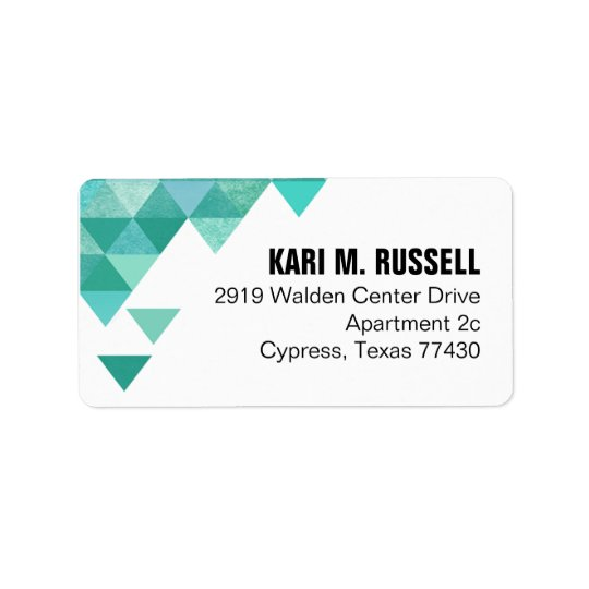 Geometric Triangles Mailing | teal turquoise Label