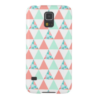 Geometric Triangles Mint Green Coral Pink Pattern Galaxy S5 Cases
