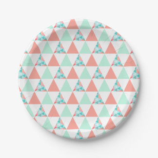 Geometric Triangles Mint Green Coral Pink Pattern Paper Plate