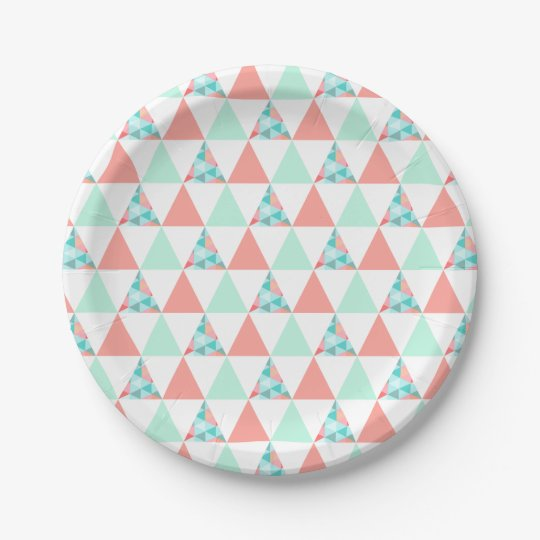 Geometric Triangles Mint Green Coral Pink Pattern Paper