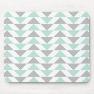 Geometric Triangles Mint Green Gray White Pattern Mouse Mat