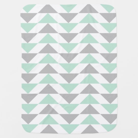 Geometric Triangles Mint Green Grey White Pattern Baby