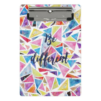 "geometric triangles pattern ""be different"" quote mini clipboard"