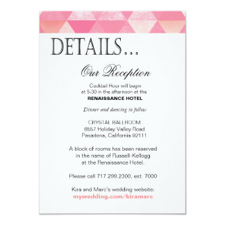 Geometric Triangles Reception Details | pink mauve Card