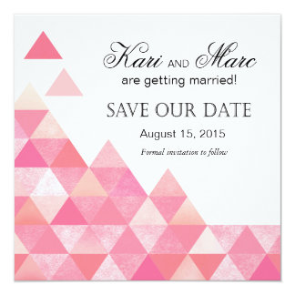 Geometric Triangles Save the Date | pink mauve Card