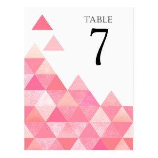 Geometric Triangles Table Numbers | pink mauve Postcard