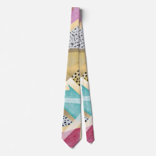 Geometric triangles watercolor hand paint pattern tie