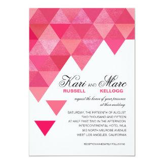 Geometric Triangles Wedding   fuschia hot pink 13 Cm X 18 Cm Invitation Card