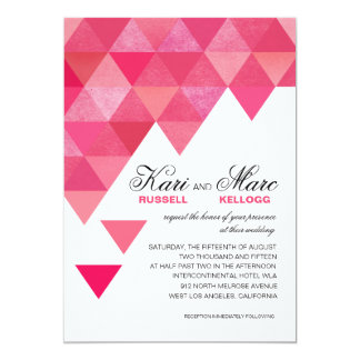 Geometric Triangles Wedding | fuschia hot pink Card