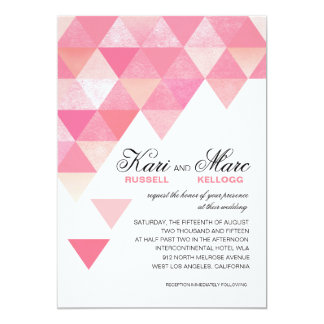 Geometric Triangles Wedding | pink mauve 13 Cm X 18 Cm Invitation Card