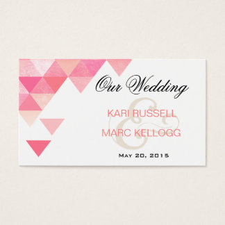 Geometric Triangles Wedding Website | pink mauve Business Card