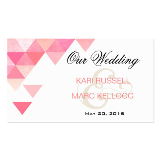 Geometric Triangles Wedding Website | pink mauve Pack Of Standard Business Cards
