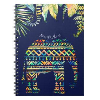 Geometric Tribal Pattern Jungle Elephant Notebooks
