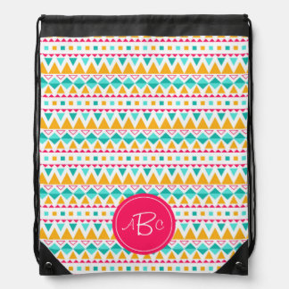 Geometric Tribal Triangles (Yellow, Aqua) Monogram Drawstring Bag