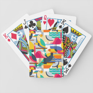 Geometric Tropical Birds Bicycle Playing Cards