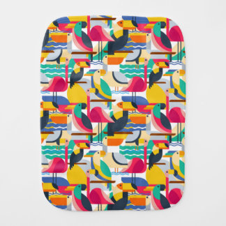 Geometric Tropical Birds Burp Cloths