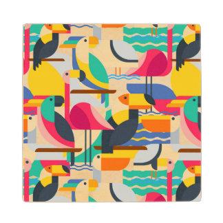 Geometric Tropical Birds Maple Wood Coaster